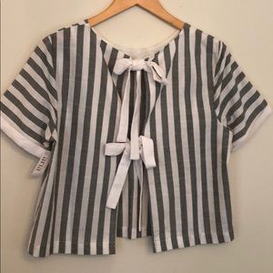 English Factory Gray and White Striped Top